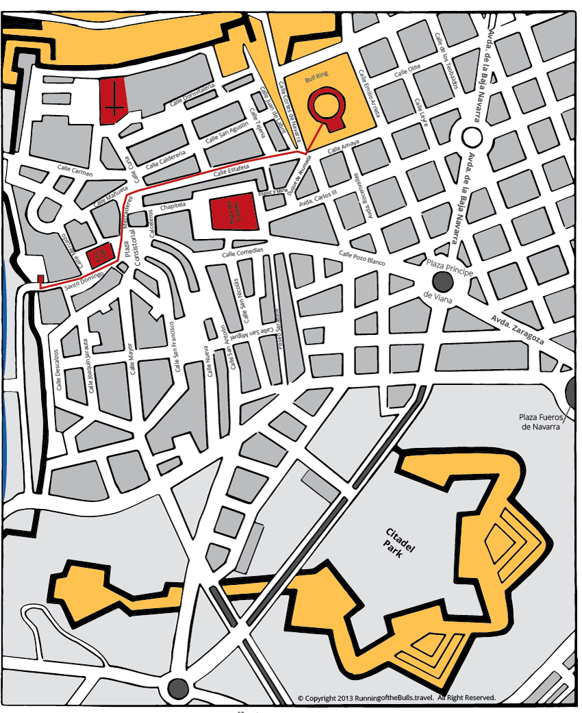 Pamplona - Bull Run Map